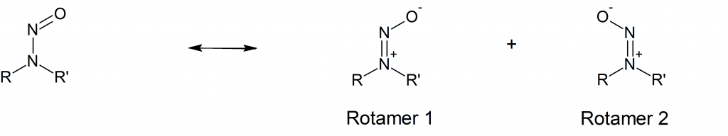 From left to right are: taditional representation of N-nitrosamine structure and rotameric structures
